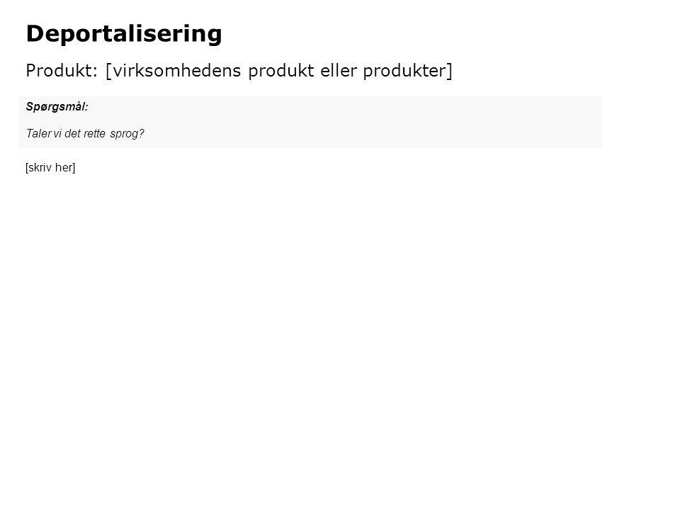 Deportalisering Produkt: [virksomhedens produkt eller produkter]